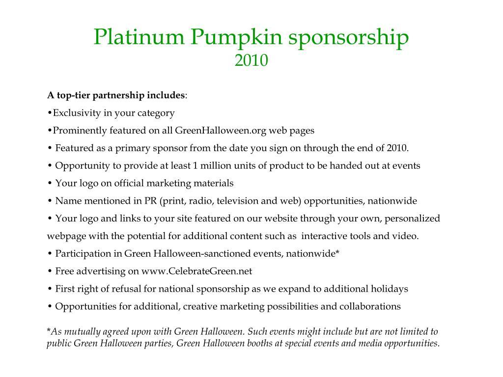 Platinum Pumpkin sponsorship