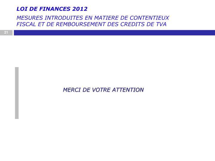 LOI DE FINANCES 2012