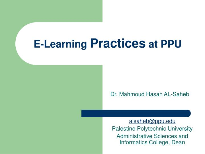 e learning practices at ppu n.