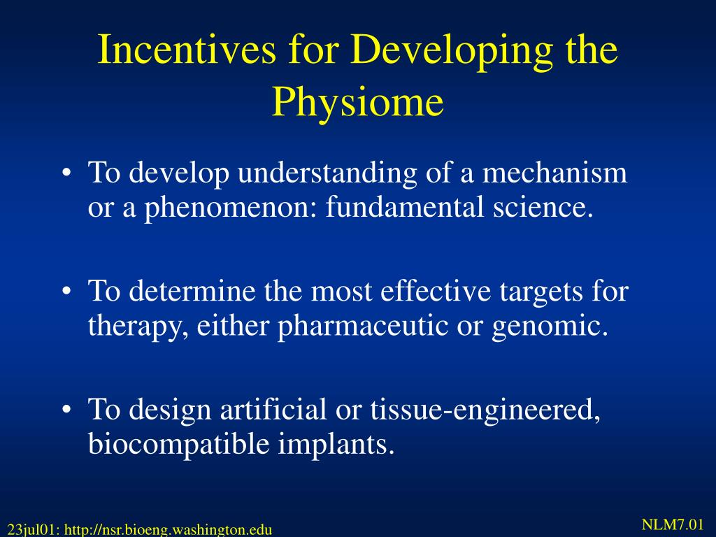 Incentives for Developing the  Physiome