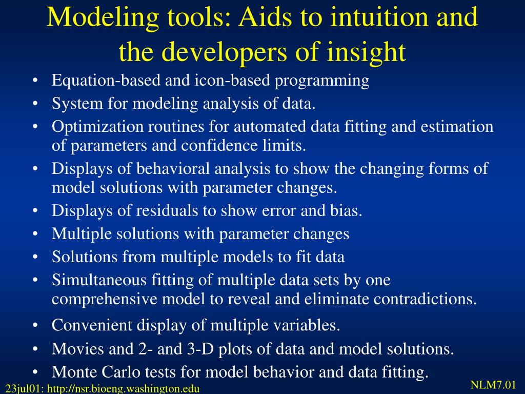 Modeling tools: Aids to intuition and the developers of insight
