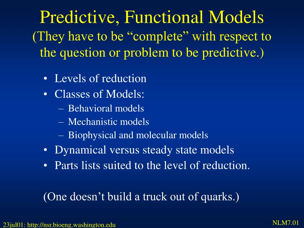 Predictive, Functional Models