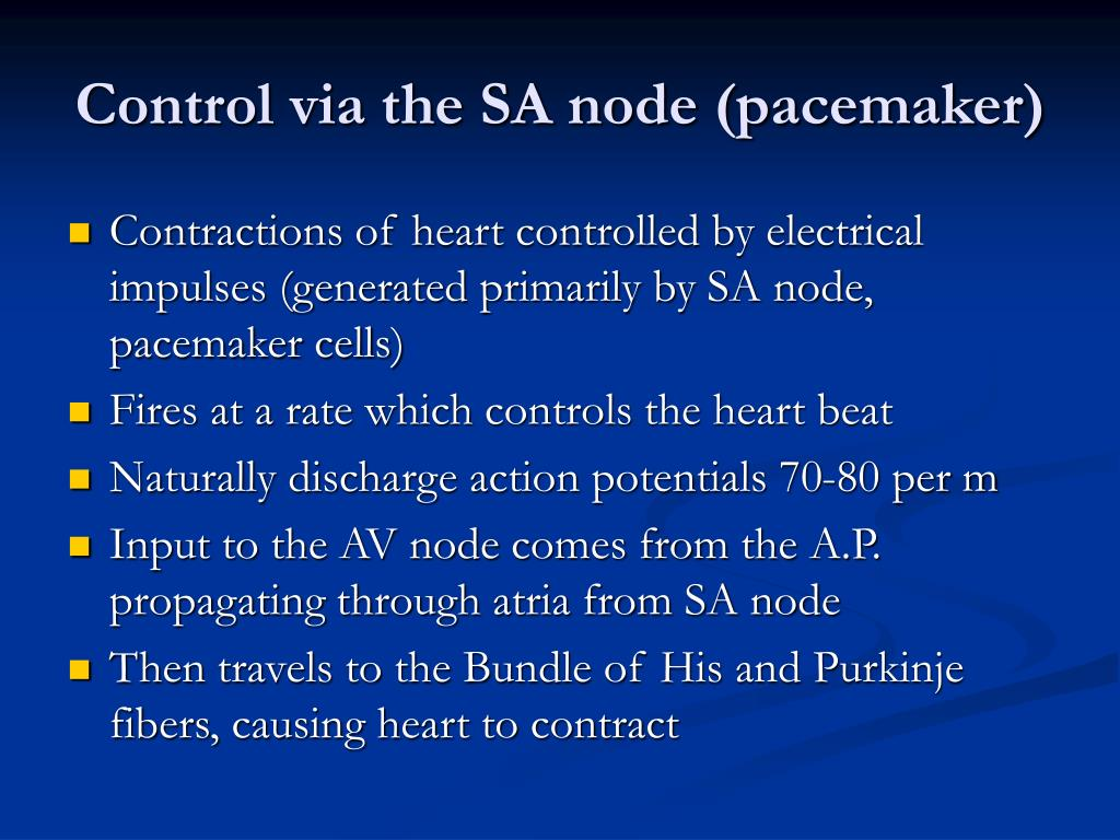 Control via the SA node (pacemaker)
