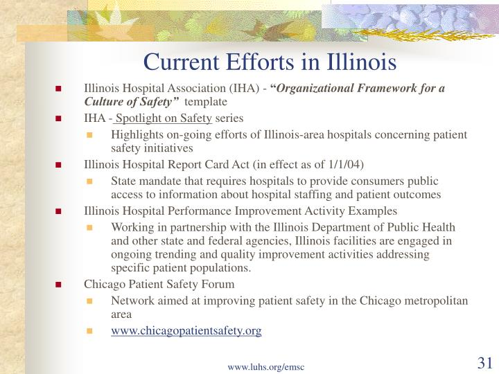 Current Efforts in Illinois