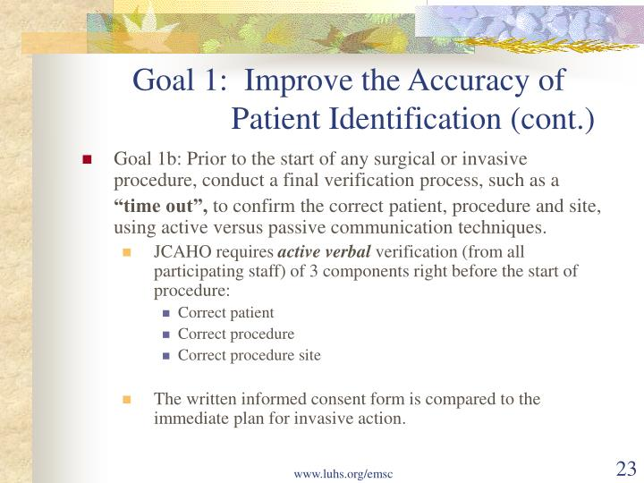Goal 1:  Improve the Accuracy of