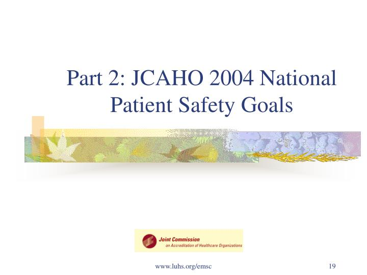 Part 2: JCAHO 2004 National Patient Safety Goals