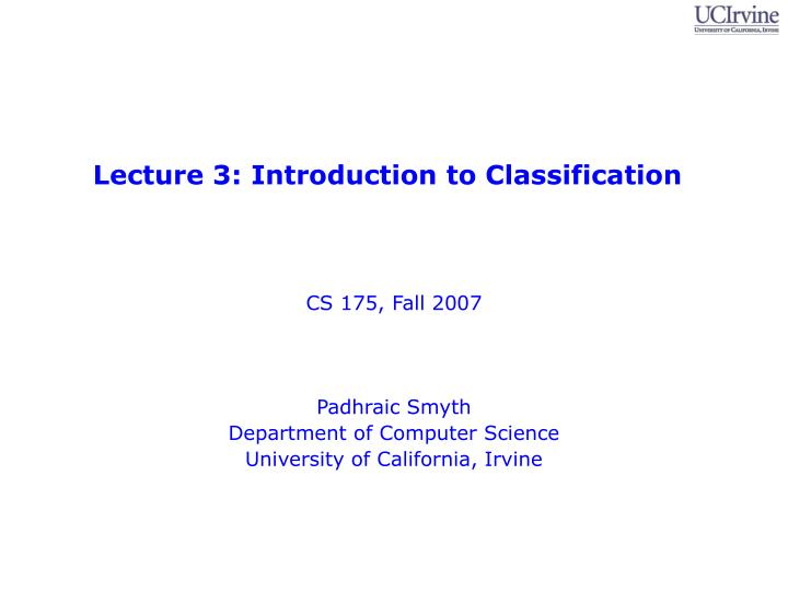 lecture 3 introduction to classification n.