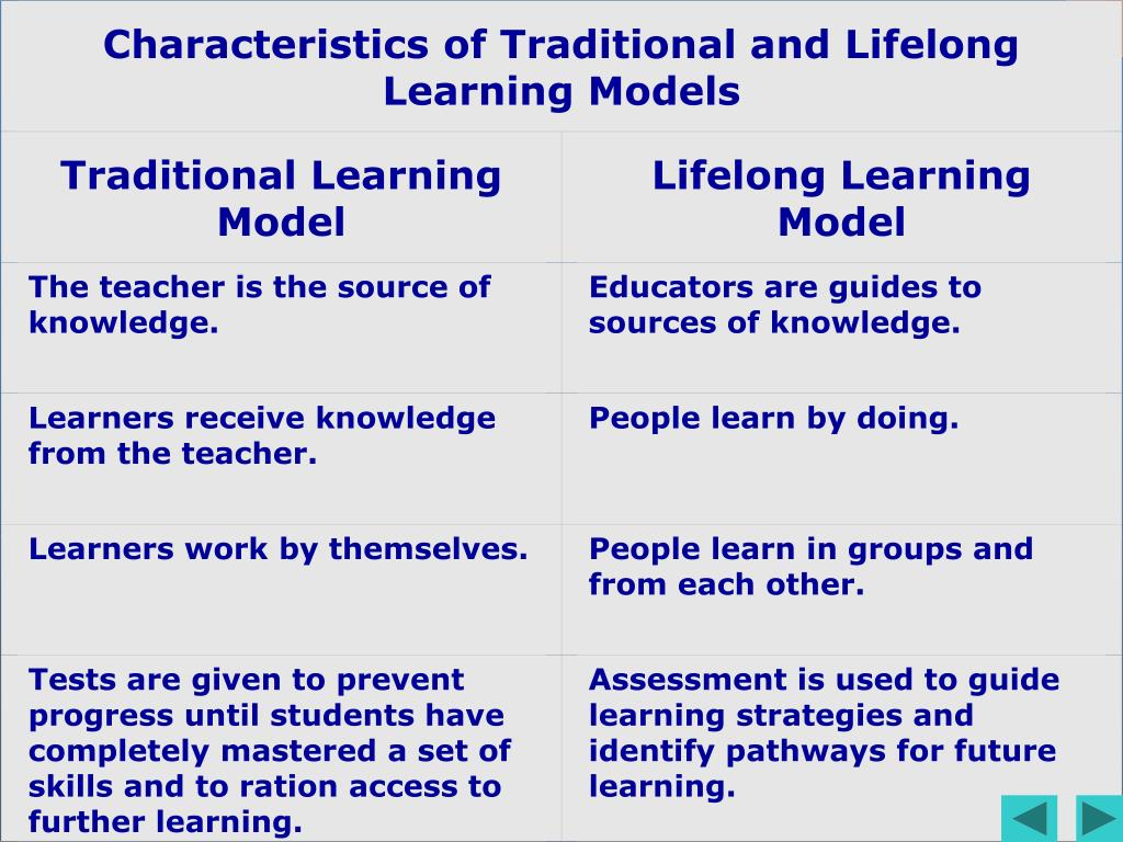 Characteristics of Traditional and Lifelong Learning Models