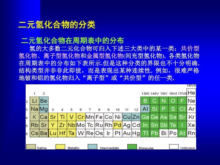 二元氢化合物的分类