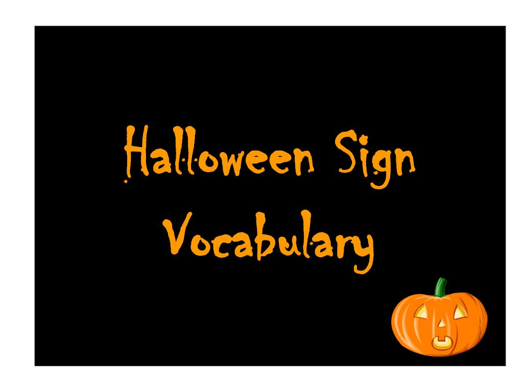 halloween sign vocabulary l.
