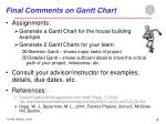 final comments on gantt chart