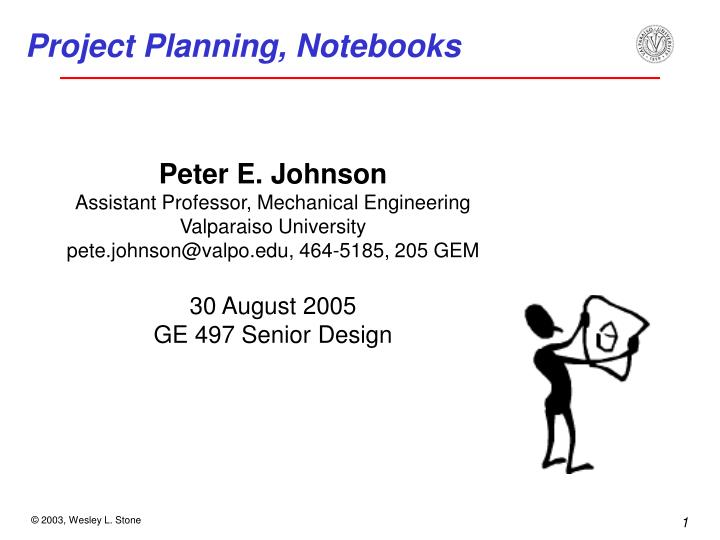 Project planning notebooks