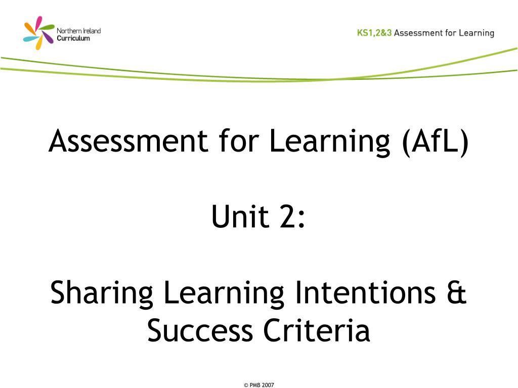 assessment for learning afl unit 2 sharing learning intentions success criteria l.