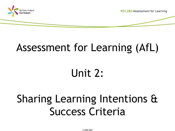 Assessment for learning afl unit 2 sharing learning intentions success criteria