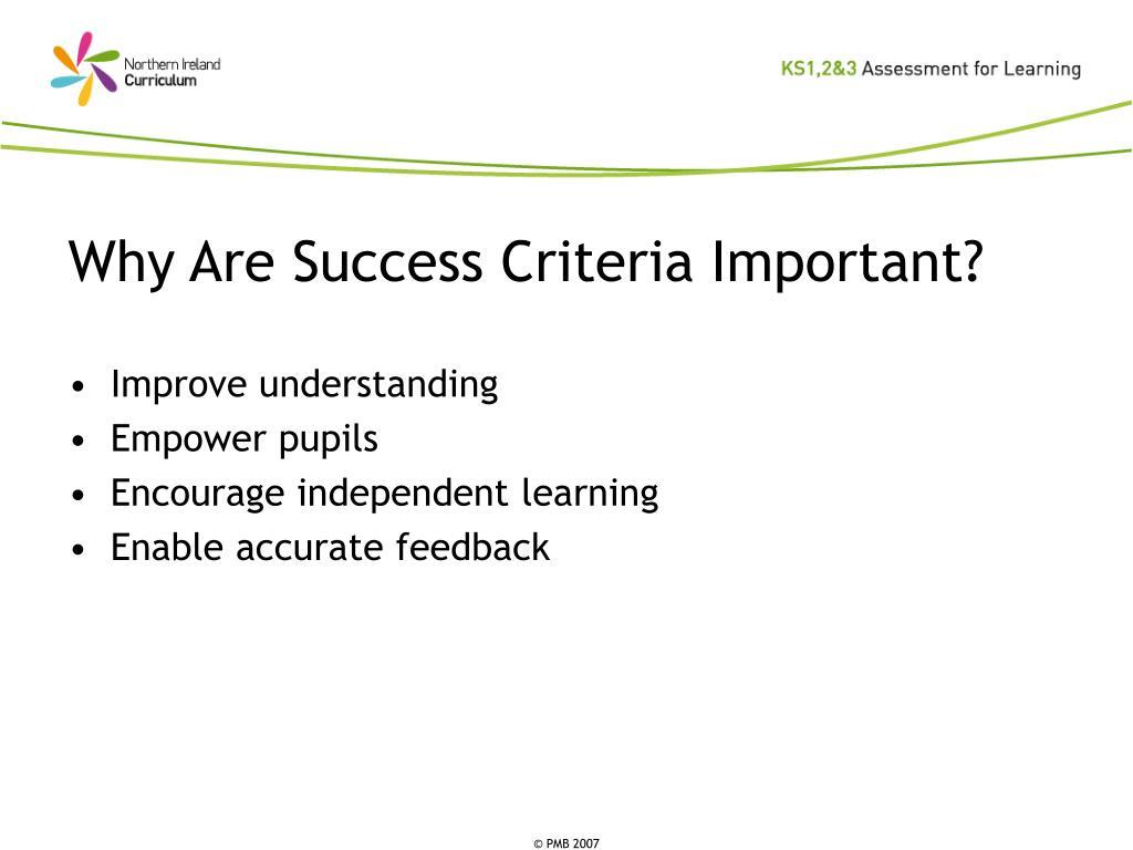 Why Are Success Criteria Important?