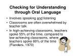 checking for understanding through oral language