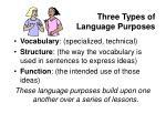 three types of language purposes