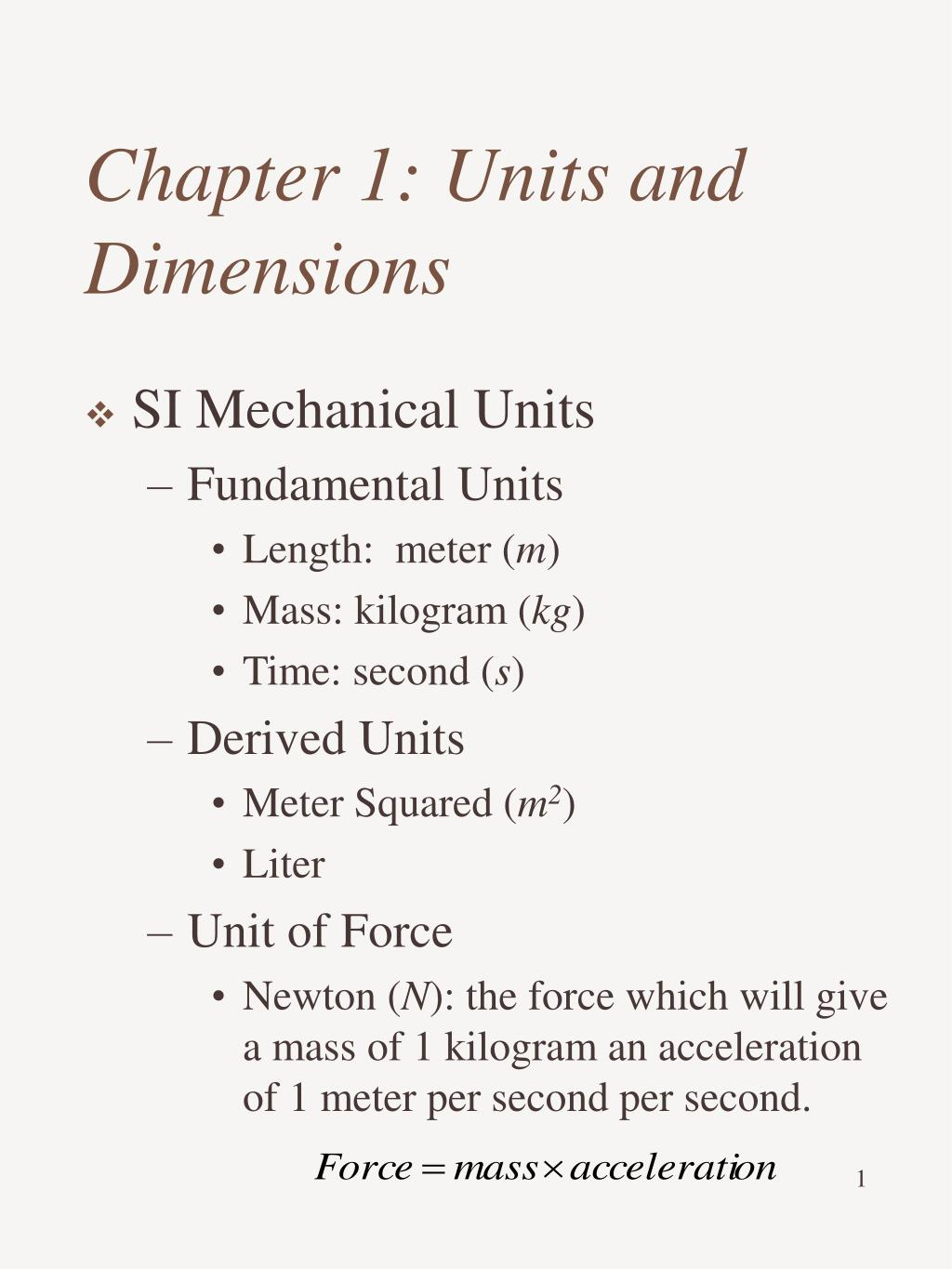 PPT - Chapter 1: Units and Dimensions PowerPoint