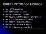 brief history of horror