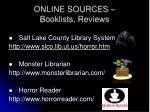 online sources booklists reviews