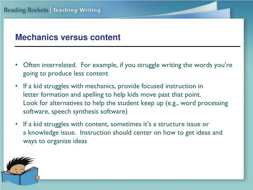 Mechanics versus content