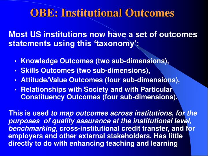 Obe institutional outcomes