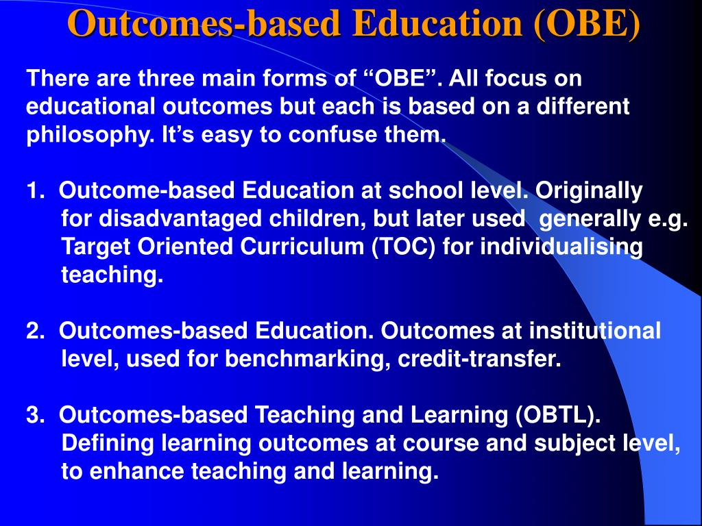 Outcomes-based Education (OBE)