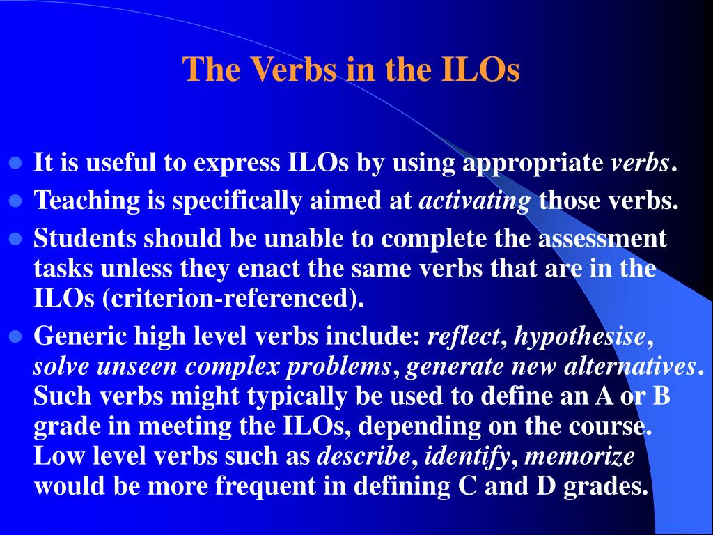 The Verbs in the ILOs