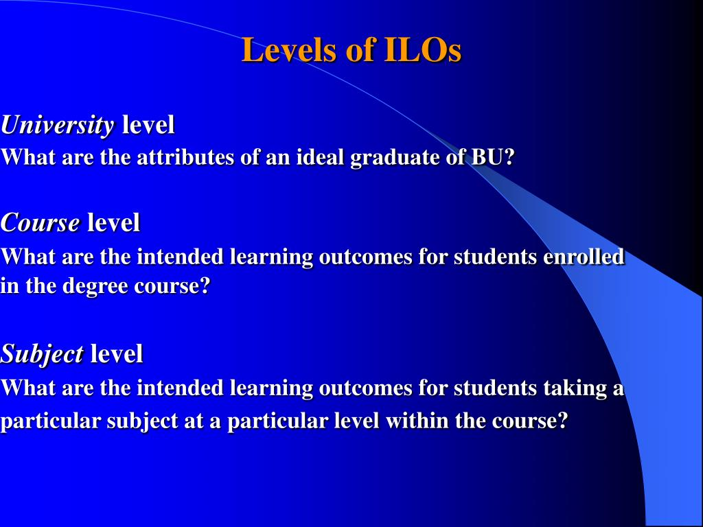 Levels of ILOs