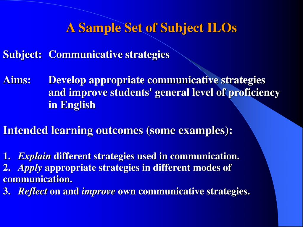 A Sample Set of Subject ILOs