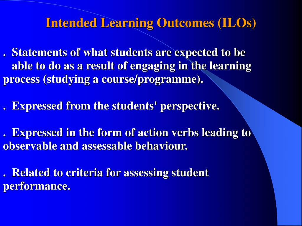 Intended Learning Outcomes (ILOs)