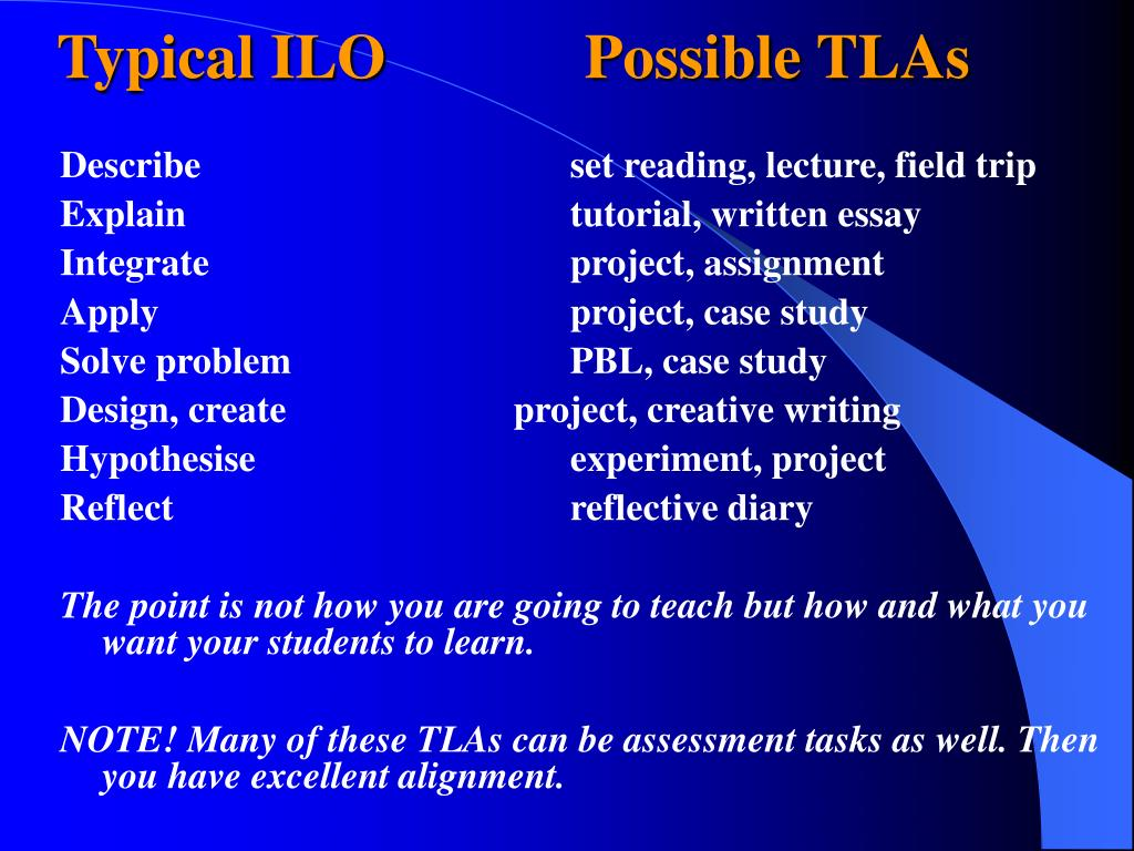 Typical ILO			  Possible TLAs
