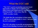 what the ugc said