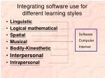 integrating software use for different learning styles