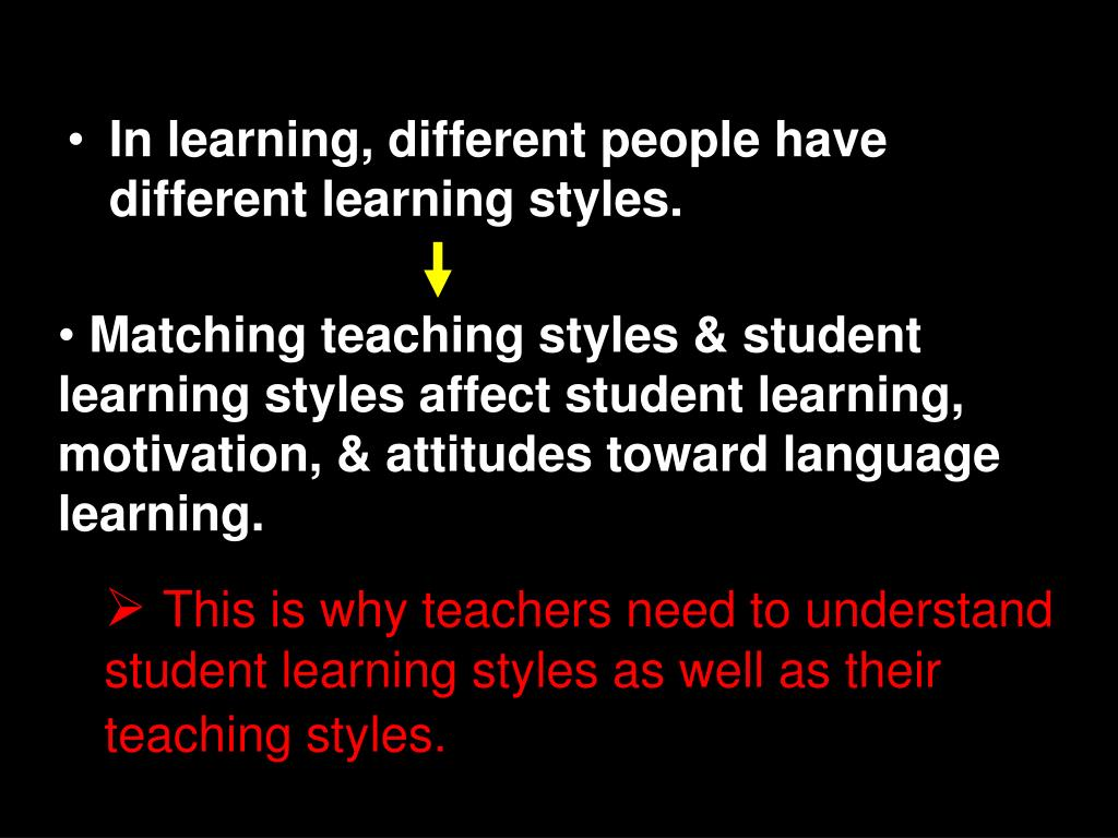 In learning, different people have different learning styles.