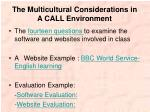 the multicultural considerations in a call environment