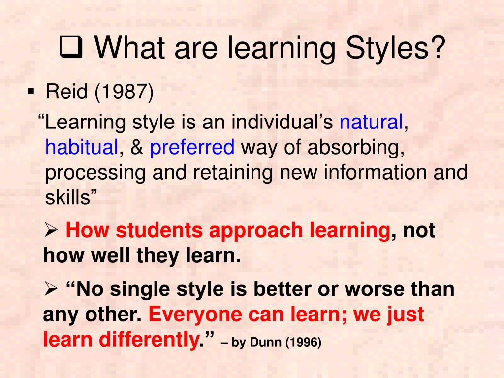 wht is learning style