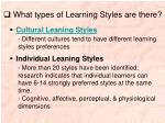 what types of learning styles are there