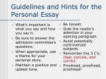 guidelines and hints for the personal essay