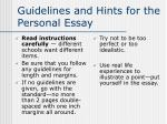 guidelines and hints for the personal essay7