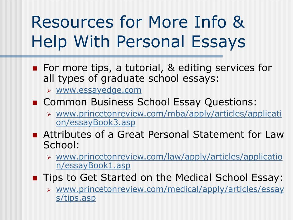 Resources for More Info & Help With Personal Essays