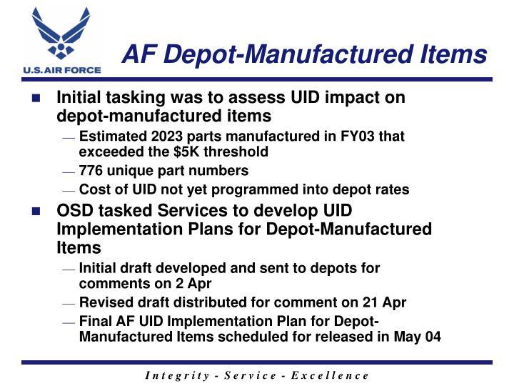 Af depot manufactured items