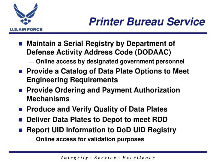 Printer Bureau Service