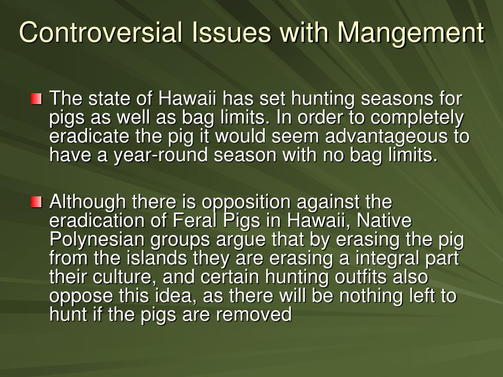 Controversial Issues with Mangement