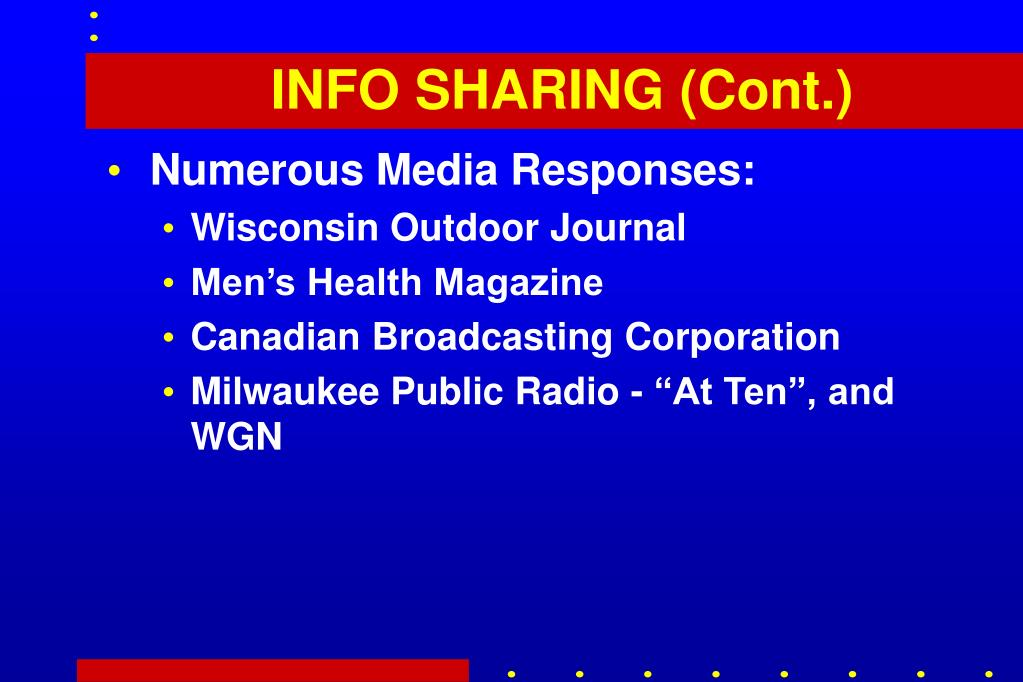INFO SHARING (Cont.)