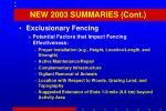 new 2003 summaries cont