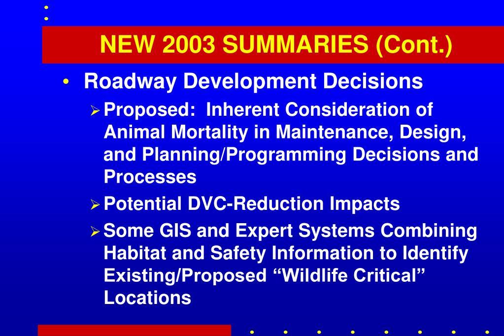 NEW 2003 SUMMARIES (Cont.)