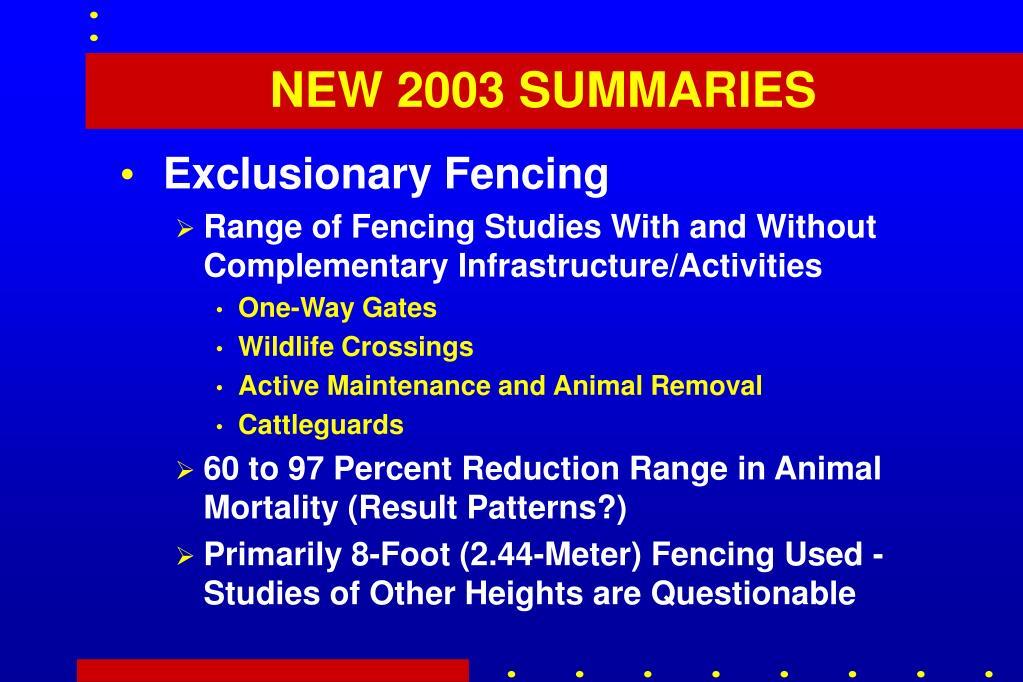 NEW 2003 SUMMARIES