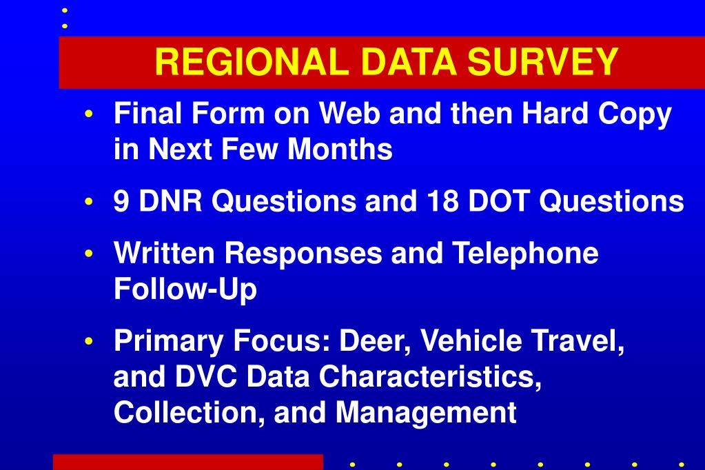 REGIONAL DATA SURVEY