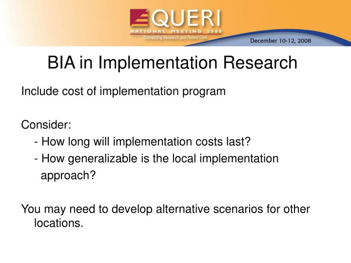 BIA in Implementation Research
